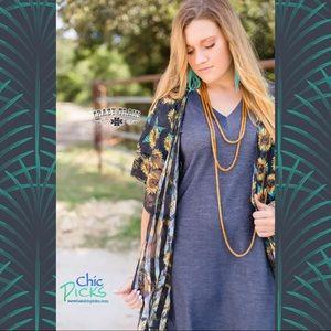 Waverly Lace Sunflower/Stripes Lace Kimono